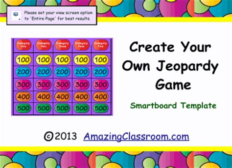 Jeopardy Game Template Smart Board Smart Notebook Lesson Smartboard Jeopardy Template