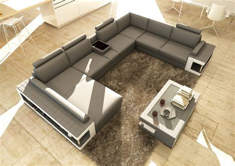 Tables For Sectional Sofas by Divani Casa 5080 Grey And White Leather Sectional Sofa W