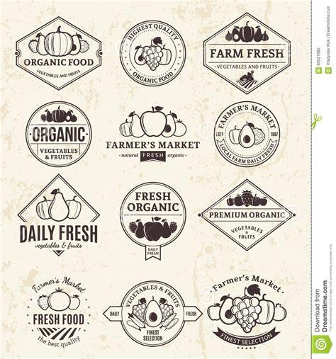 vintage classic design label elements fruits and vegetables logos labels and design elements