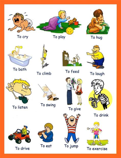 verbs pictures to and print