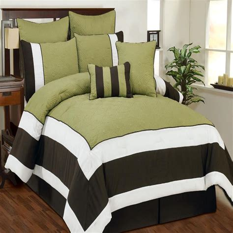 sage comforter aspen sage chocolate white quilted comforter bed in a