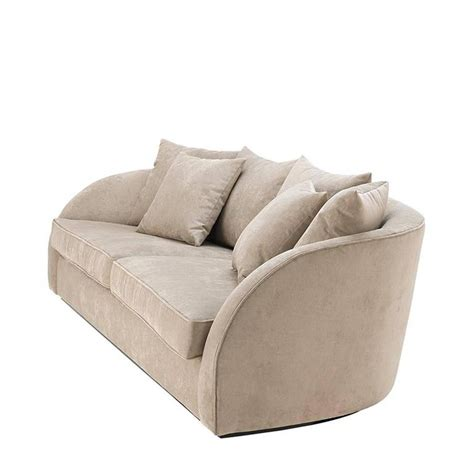 miami lounge sofa with greige velvet fabric for sale at