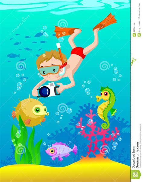 dive gratis illustration of boy scuba diving stock illustration