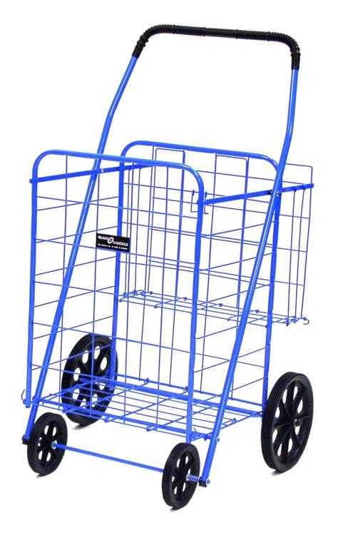 shopping cart narita jumbo plus folding shopping cart w dual baskets