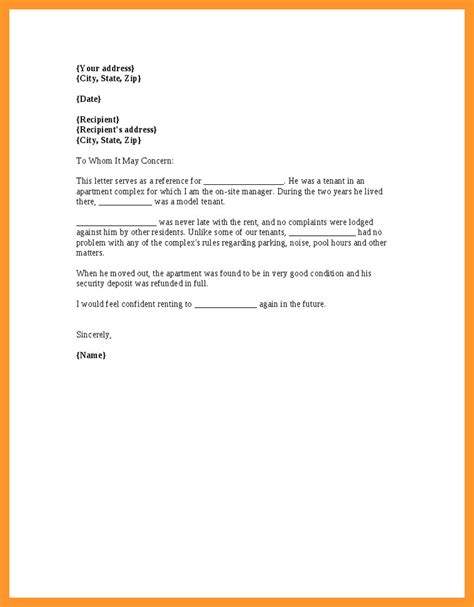 letter from employer for apartment sop exle