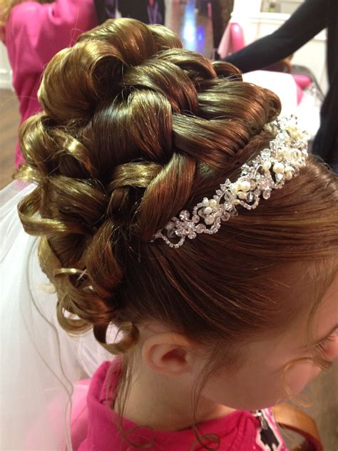 cute hairstyles for first communion communion updo by karen updo communionhair hair