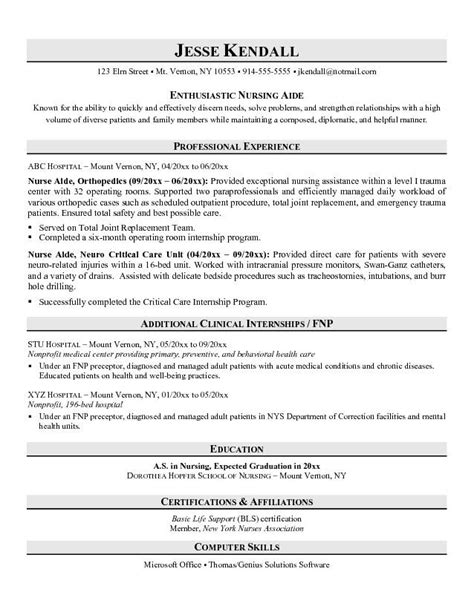 resume template for nursing assistant resume exles no experience related to certified