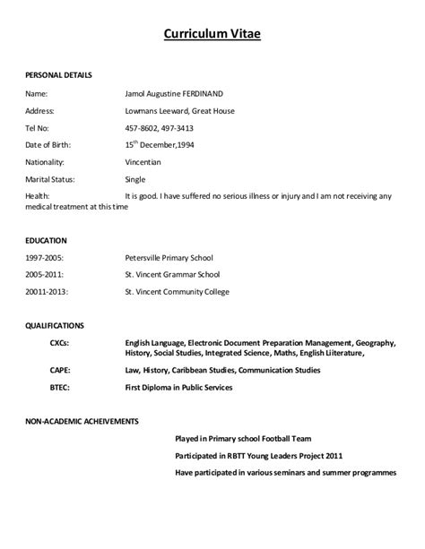 simple curriculum vitae format for application curriculum vitae sle format