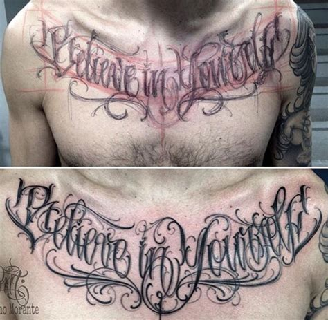 calligraphy tattoo believe in yourself chest lettering lettering