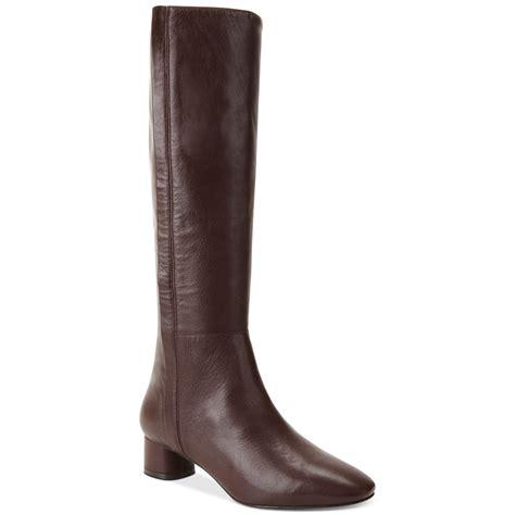 nine west nicoh low heel boots in brown lyst