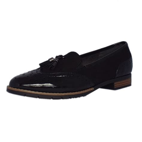 wide fit loafers womens county 8 24260 27 loafer in black wide fit brogue