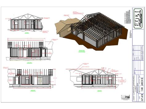 drawing of a house with garage garage model ed i