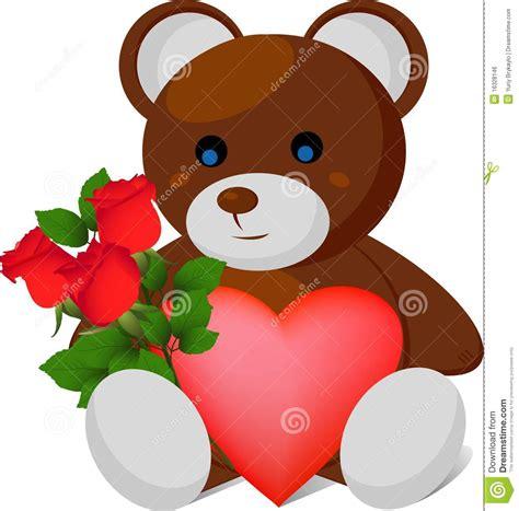 imagenes de osos con rosas y corazones oso de la felpa con el coraz 243 n y el ramo color de rosa