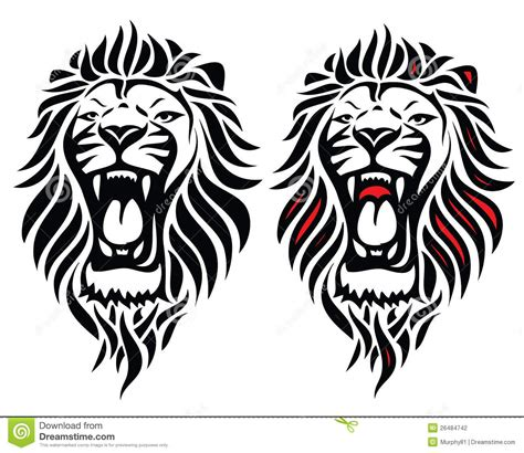 isolated tribal lion tattoo stock vector illustration