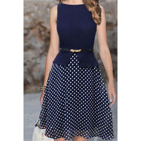 dot pattern frocks polka dot print sleeveless round collar belt design women