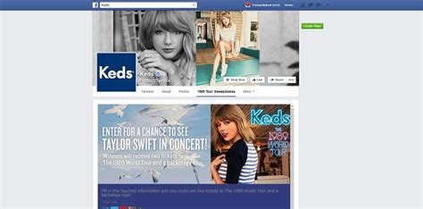 Sweepstakes On Facebook - keds 1989 world tour sweepstakes on facebook see taylor swift in concert