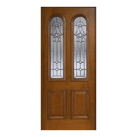 Solid Wood Front Door With Glass Door 36 In X 80 In Mahogany Type Prefinished Cherry Beveled Patina Arch Glass Solid
