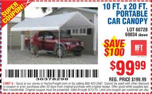 10 Ft X 20 Ft Portable Car Canopy by Harbor Freight 20 Percent Off Coupon 2017 2018 Best