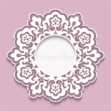 paper lace templates card lace doily cutout paper frame template stock vector