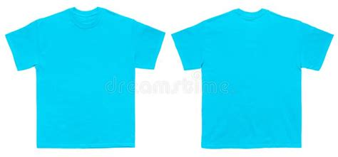 Blank T Shirt Color Sky Blue Template Front And Back View Stock Photo Image Of Textile Neck Teal T Shirt Template