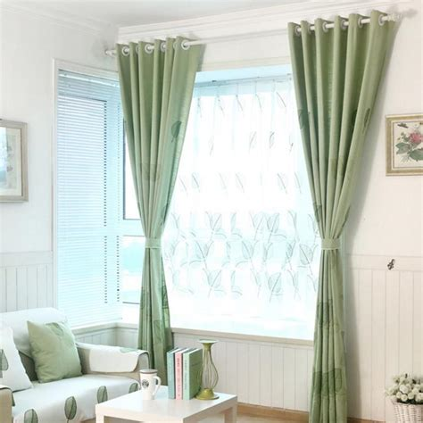 country curtains on sale green leaf embroidery linen country custom living room