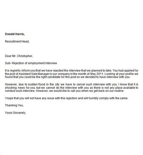 Rejection Letter From Rejection Letter To Applicant Template Durdgereport886 Web Fc2