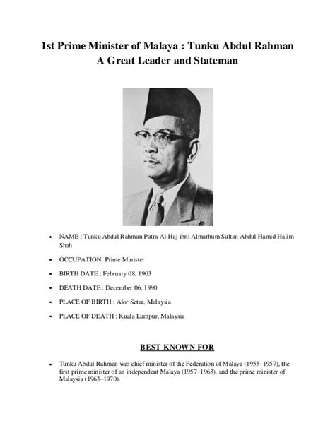essay biography of tunku abdul rahman 1st prime minister of malaya