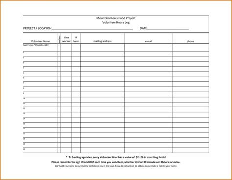 volunteer hours log sheet targer golden dragon co