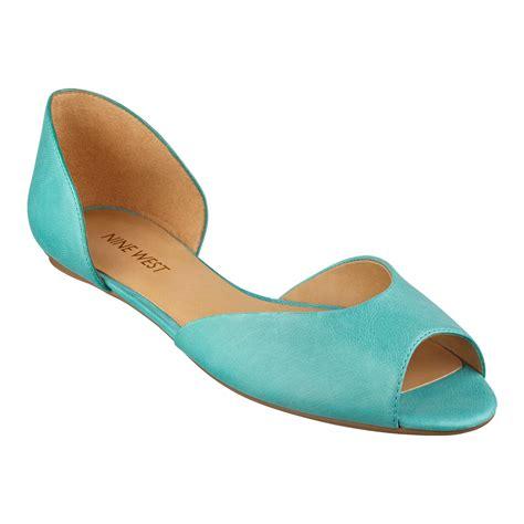 flat peep toe shoes lyst nine west byteme peep toe flat in blue