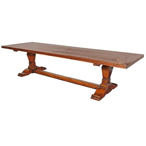 large antique 19th century walnut trestle table from