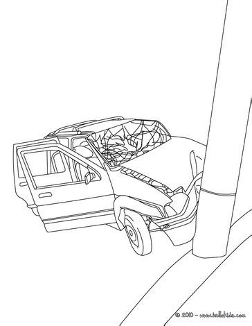 coloring page of car crash car accident coloring pages