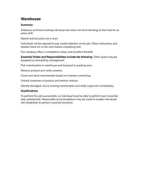 warehouse stocker description conference sales manager sle resume