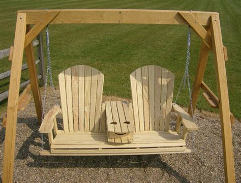 jake s amish furniture 5 adirondack swing with fold down cup holder open in the middle
