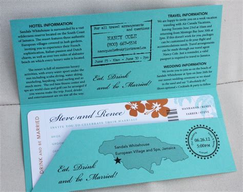 Wedding Invitations Jamaica by Turquoise Orange And Navy Hibiscus Palm Tree And Sea
