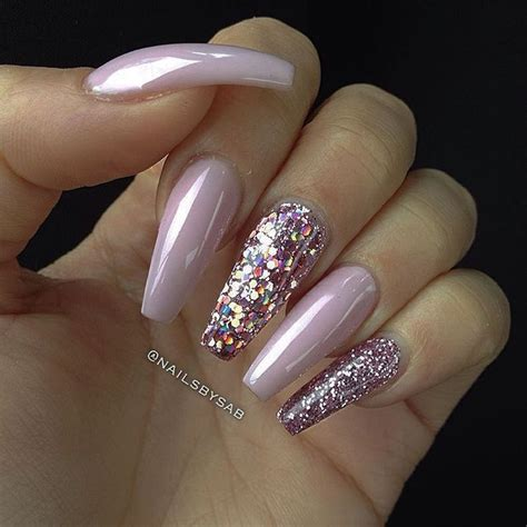 long pattern nails baby pink pink holographic glitter pink glitter long