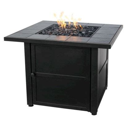 uniflame propane gas pit uniflame bronze faux wicker gas pit with ceramic tile