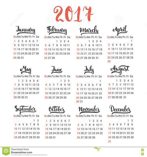 Calendã Semanas 2017 Calendar 2017 Design Template Vector On The White