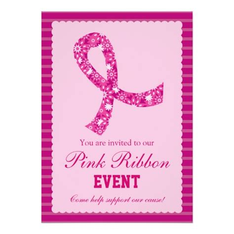 pink ribbon thank you card template pink ribbon breast cancer event invitation zazzle