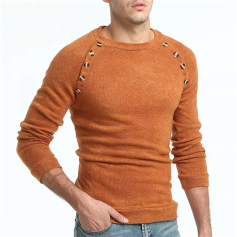 Sweater Rajut Pria Kasual 1 buy sweater pullover brand casual slim sweaters button splicing solid color hedging