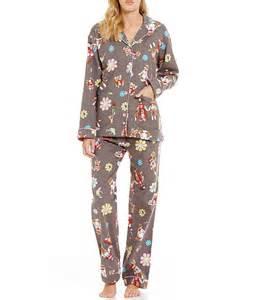 pj salvage flannel hippie sock monkey pajamas in gray lyst