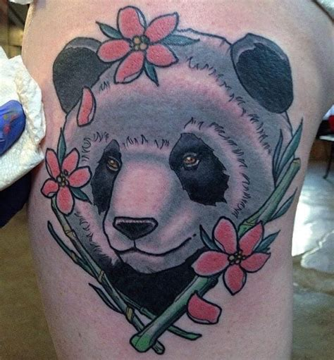 panda flower tattoo colorful panda bear tattoo ideas creativefan