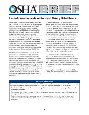The Mood At Osha Osha Safety Data Sheet Template