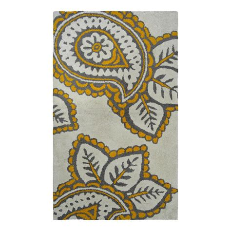 yellow throw rug shop allen roth yellow grey paisley rectangular indoor handcrafted throw rug common 2 x 4