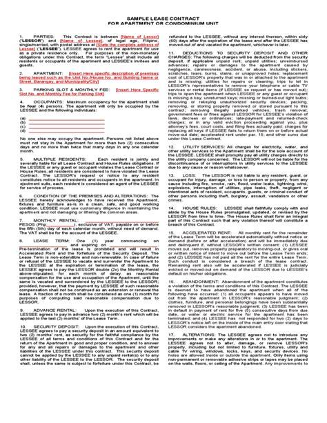 condo lease template sle lease contract for apartment or condominium unit