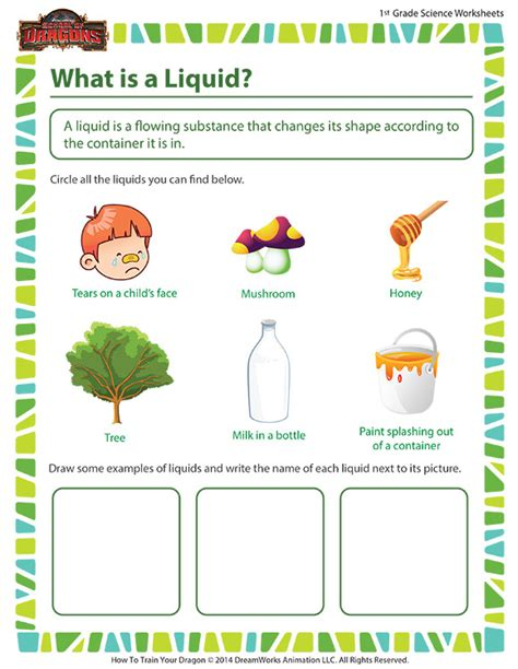 1 Grade Science Worksheets by What Is A Liquid Worksheet Grade Science