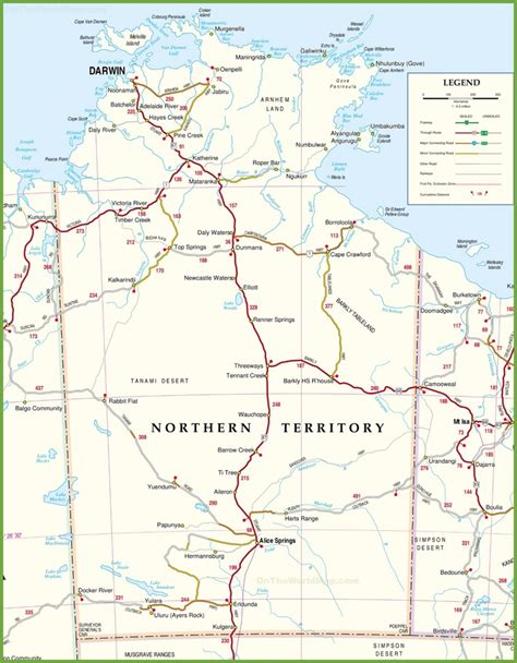 map northern australia large detailed map of northern territory with cities and towns