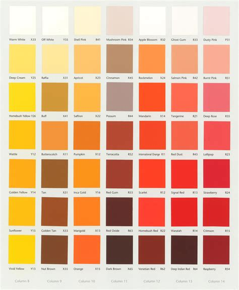 image gallery orange color chart