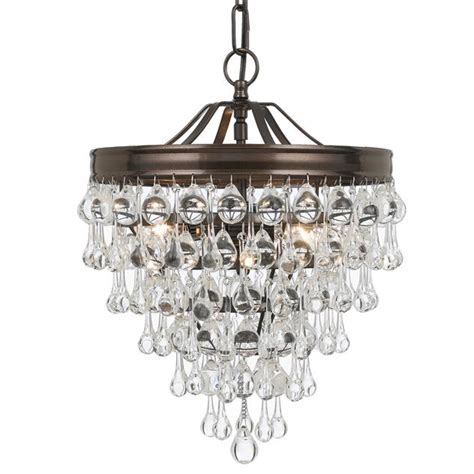 crystorama calypso chandelier crystorama crystorama calypso 3 light teardrop bronze mini chandelier