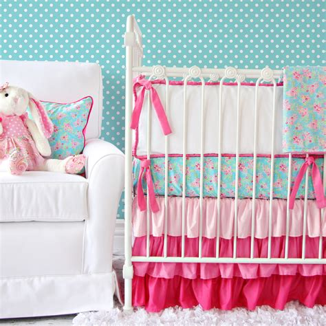 Giveaway Caden Lane Crib Bedding Set Project Nursery Aqua And Pink Crib Bedding