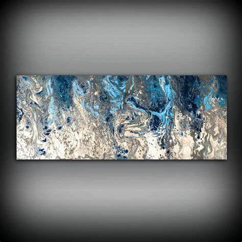 white and blue wall decor large abstract painting print navy blue print large